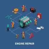 Car Repair Auto Center Isometric Composition stock illustration