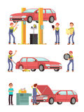 Car repair auto service with mechanic characters in uniform vector set. Mechanic repair car, automobile maintenance illustration Stock Photography