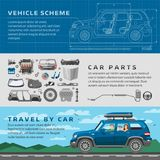 Car repair auto service vector mechanic garage worker career infographic concept. Motorcar parts and happy family Stock Image