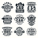 Car repair badges. Graphic design for t-shirt. Black print on white background Royalty Free Stock Image