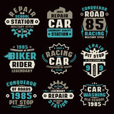 Car repair badges. Graphic design for t-shirt. Color print on black background Royalty Free Stock Images