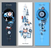Car Repair Banners Vertical. Set with spares repair and diagnostics elements isolated vector illustration Royalty Free Stock Photo