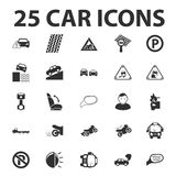 Car, repair 25 black simple icons set for web Royalty Free Stock Images