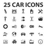 Car, repair 25 black simple icons set for web Stock Image