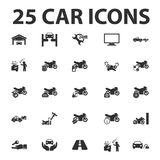Car, repair 25 black simple icons set for web Stock Photos