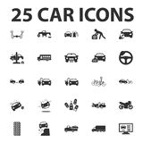 Car, repair 25 black simple icons set for web. Design Royalty Free Stock Images