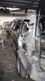 Car repair. After crash , all the car body broken Stock Image