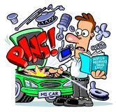 Car repair cartoon caricature Stock Image