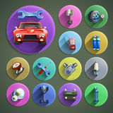 Car Repair Cartoon Icons Set Stock Images