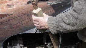 Car repair after crash stock footage