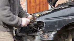 Car repair after crash stock video
