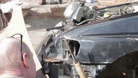 Car repair after crash stock video footage