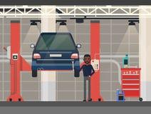 Car repair or diagnostic.Vehicle at lift, elevator Royalty Free Stock Photos