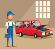 Car repair. Funny mechanic. Vector cartoon illustration Royalty Free Stock Photography