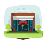 Car repair garage, auto help service center vector with mechanic Stock Photography