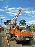 Car repair high voltage pole. Car for repairing the electric power in thailand for urgent repair Royalty Free Stock Photos