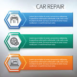 Car-repair-horizontal-banner-set-gray-background Royalty Free Stock Images