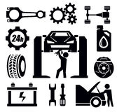 Car repair icon. Vector black car repair icon set on white Royalty Free Stock Image