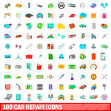100 car repair icons set, cartoon style. 100 car repair icons set in cartoon style for any design vector illustration Royalty Free Stock Images