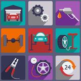 Car repair icons set with mechanic service and Stock Images