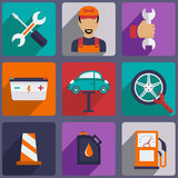 Car repair icons set with mechanic service and Royalty Free Stock Images
