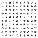 Car repair 100 icons set for web. Flat stock illustration