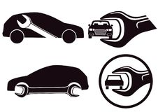 Car repair icons. Silhouette of cars with wrench tool in black and white in repair or maintenance icons vector illustration