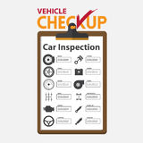 Car repair infographic in flat design. Checkup clipboard. Royalty Free Stock Photos