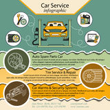 Car repair infographics. Cat service and Tire infographic. Stock Photography