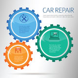 Car-repair-infographics-gears-on-chalk-background Royalty Free Stock Photo