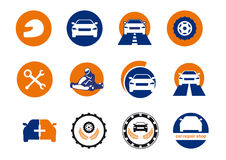 Car repair logo design. Icons for your business in car traffic, car repair shop, garage. Logo for all motorists. Set of icons. Colored vector icons. Series car Royalty Free Stock Photography