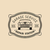 Car repair logo with retro automobile illustration. Vector vintage hand drawn garage, auto service ad poster, card etc. Royalty Free Stock Images