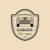 Car repair logo with retro automobile illustration. Vector vintage hand drawn garage, auto service ad poster, card etc. Stock Photography