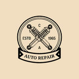 Car repair logo with shock absorber illustration. Vector vintage hand drawn garage, auto service advertising poster etc. Royalty Free Stock Photos