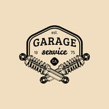 Car repair logo with shock absorber illustration. Vector vintage hand drawn garage, auto service advertising poster etc. Stock Images
