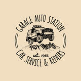 Car repair logo with SUV illustration. Vector vintage hand drawn garage,auto service ad poster etc. Off-road car sketch. Stock Photos