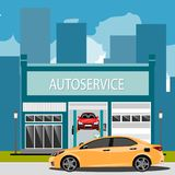 Car repair maintenance auto service station with auto Royalty Free Stock Image