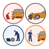 Car repair and maintenance . Vehicle workshop. Auto services images on white background Stock Images