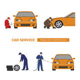 Car repair and maintenance . Vehicle workshop. Auto services images on white background Stock Photos