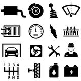 Car repair and mechanic icons. Car repair shop and mechanic icon set Royalty Free Stock Photography