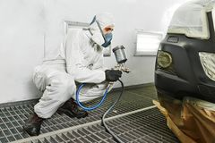 Car repair painting in chamber Stock Images