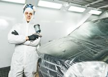 Car repair painting in chamber Stock Photos