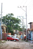 Car repair. Private car being repaired in the streets of Trinidad Cuba Royalty Free Stock Photos