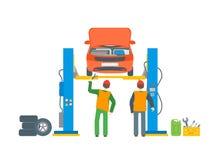 Car Repair Service Automobile Lifted. Vector. Car Repair Service Automobile Lifted. Flat Design Style. Vector illustration Stock Photos