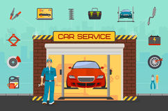 Car repair service center concept with tuning diagnostics flat elements and worker man. Royalty Free Stock Images