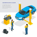 Car repair service center. Tire service flat set with shop car repair mechanics. Flat 3d isometric vector illustration. Stock Photo