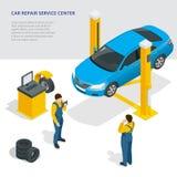 Car repair service center. Tire service flat set with shop car repair mechanics. Flat 3d isometric vector illustration. Stock Photo