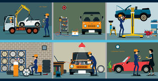 Car repair. Service center to repair the car mechanic repairing a car Stock Photo