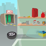 Car repair service concept, cartoon style Royalty Free Stock Photos