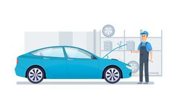 Car repair, service, diagnostics car in building auto service. Car repair and service. Mechanic repairs and diagnostics car in building of auto service. Auto royalty free illustration
